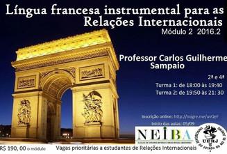 Módulo 2 do Curso de Francês Instrumental. Novas turmas 2016.2. Inscreva-se.