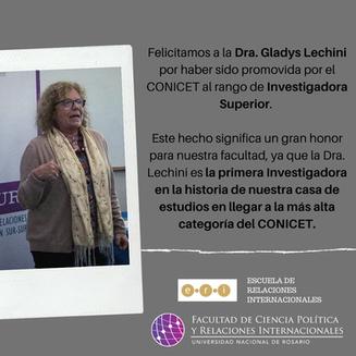 Profª. Drª. Gladys Lechini, coordenadora do NEIBA, promovida ao grau de Pesquisadora Superior do CON