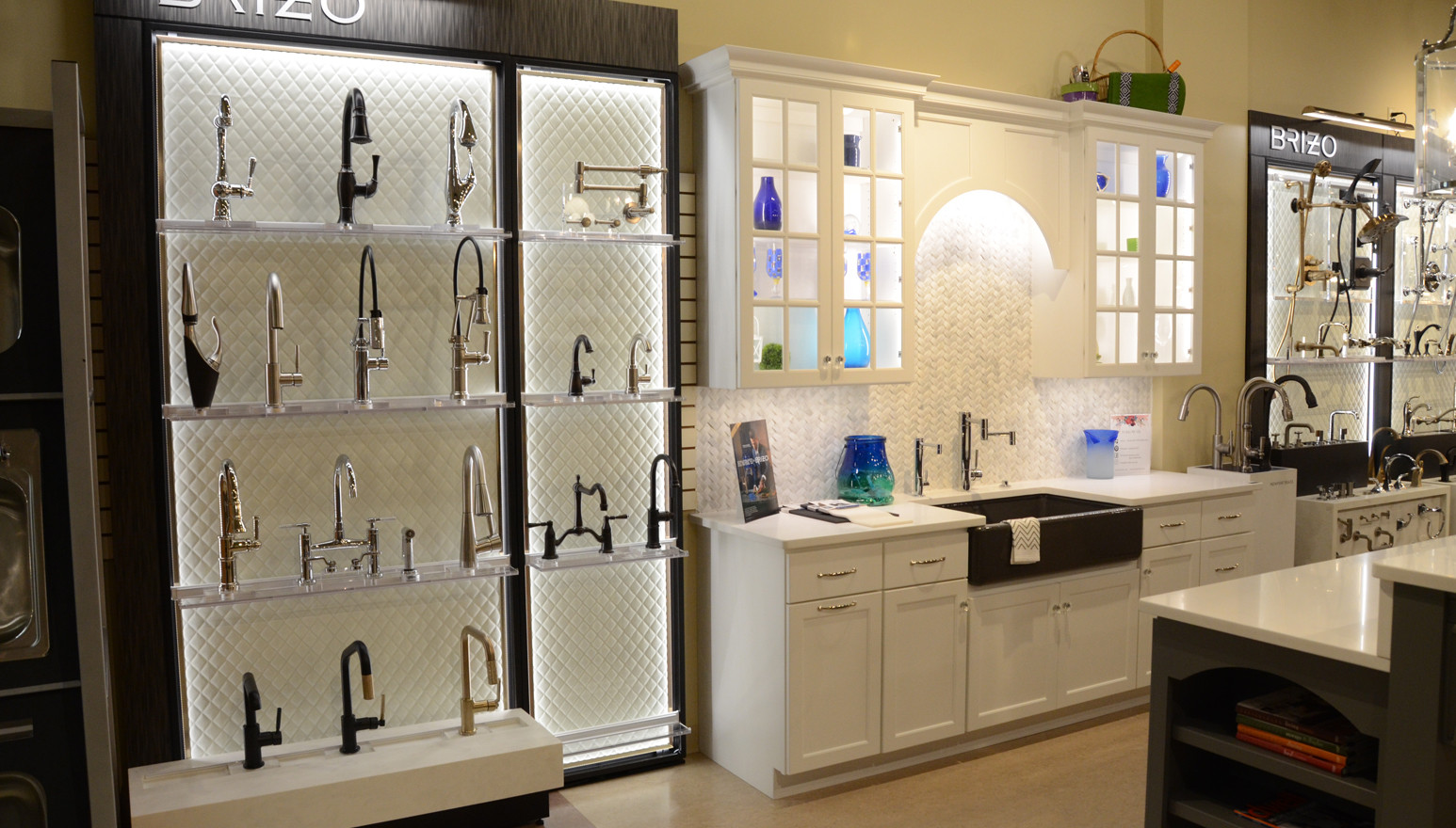 Brizo Kitchen Faucets. RD Henry Cabinetry Display