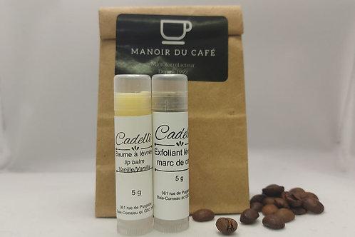 Duo de baume à lèvres exfoliants- Café moka et vanille