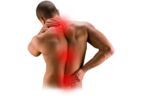 man with Neck pain, middle back paine, and lower back pain