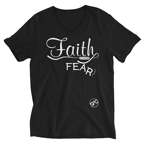 Faith -over- Fear – Unisex Short Sleeve V-Neck T-Shirt