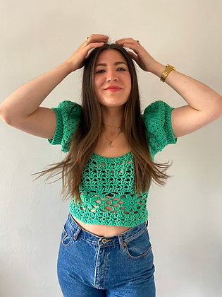 Emerald green puffy sleeve crocheted top