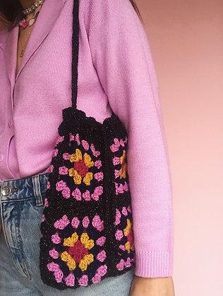 Sparkly crocheted granny square bag