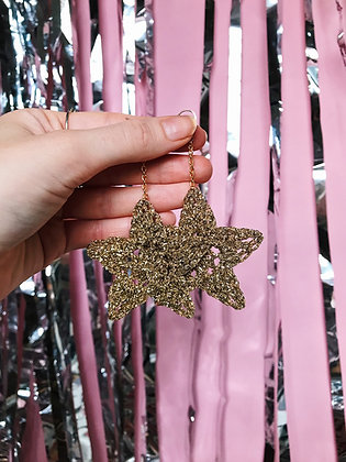 Sparkly gold crocheted star earrings