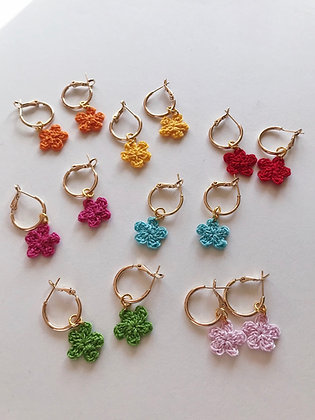 Tiny crocheted flowers on hoops
