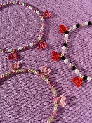 Triple crocheted heart necklace