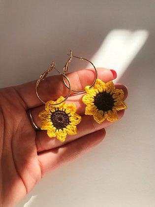 Mini crocheted sunflower earrings
