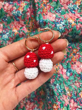 Crocheted toadstool earrings