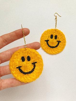 Crocheted smiley face earrings