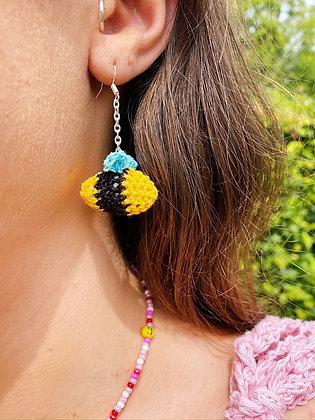 Crocheted bee earrings