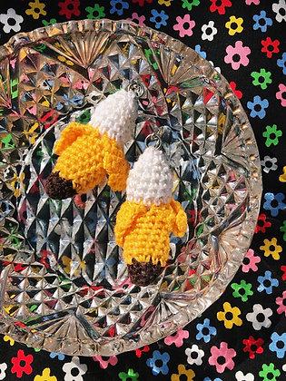 Crocheted banana earrings