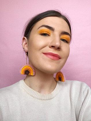 Autumn crocheted rainbow earrings
