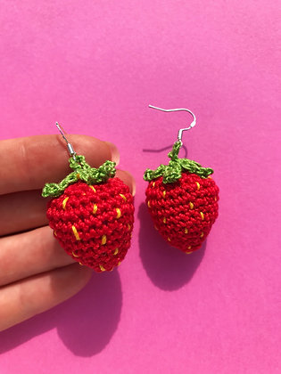 Crocheted strawberry earrings