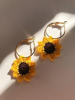 Tiny crocheted sunflower earrings