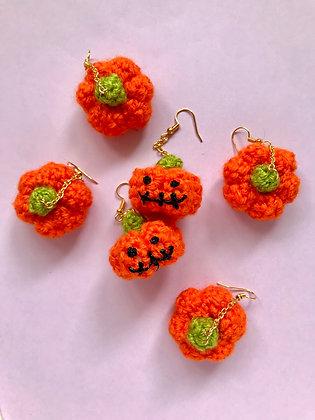 Crocheted pumpkin earrings