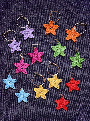 Crocheted star earrings