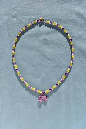 Lilac crocheted heart necklace