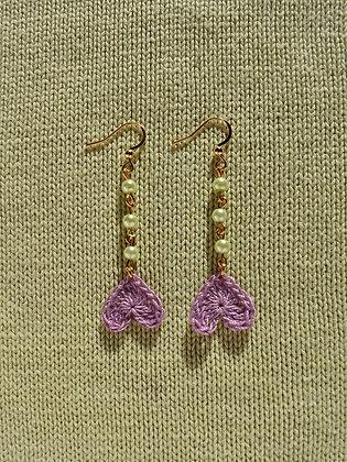 Green & lilac heart earrings