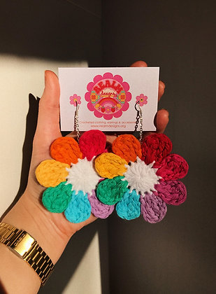 Rainbow flower power earrings