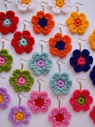 Classic custom colour crocheted flower earrings