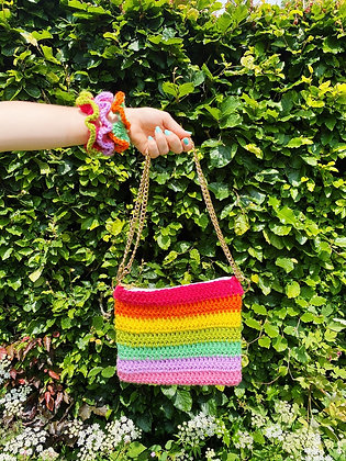 Crocheted rainbow bag