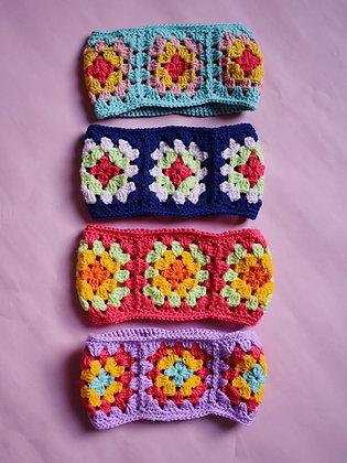 Custom- Crocheted granny square ear-warmer
