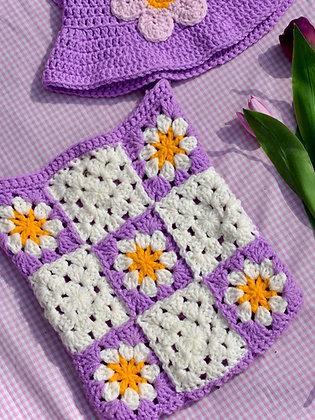 Crocheted granny squares across body bag- PDF pattern