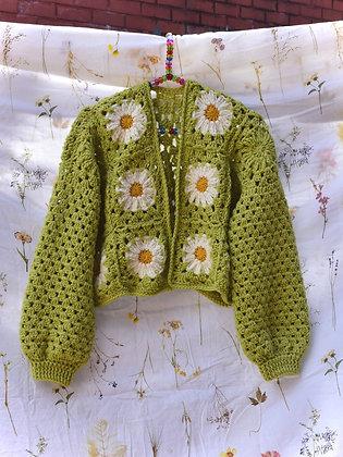 Retro daisy crocheted cardigan