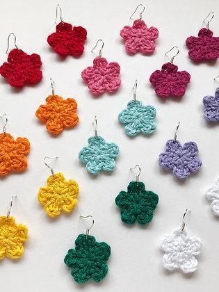 Basic crocheted flower earrings- 9 colours