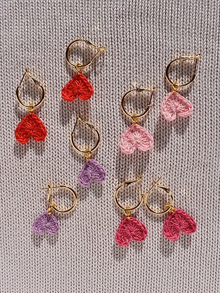 18ct gold plated tiny crocheted heart hoops