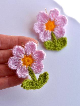 Flower pot crocheted earrings