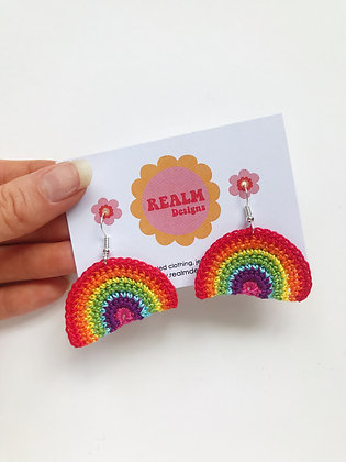 Tiny crocheted rainbow earrings