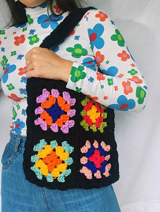 Black & rainbow crocheted tote bag