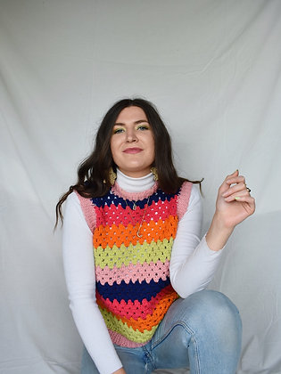 Oversized striped crocheted vest