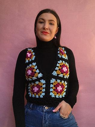 Sparkly crocheted V-neck vest- Medium