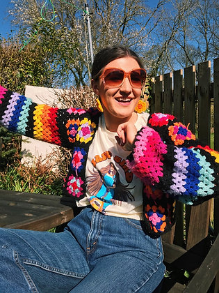 Black crocheted granny squares and stripes cardigan