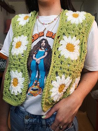 Retro daisy crocheted waistcoat