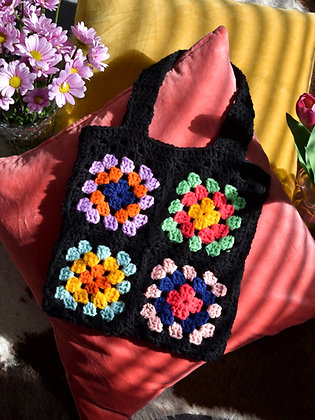 Crocheted granny squares tote bag- PDF pattern