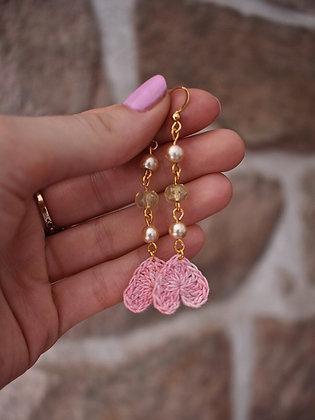 Pearl, green & pink heart earrings