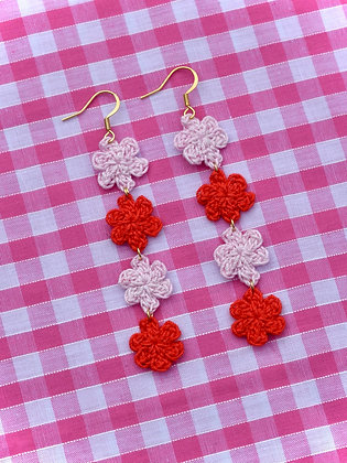 Pink and red tiny flower earrings