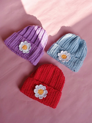Crocheted flower beanie hat
