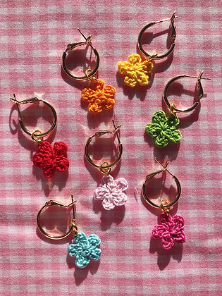 18ct gold plated tiny crocheted flowers on hoops