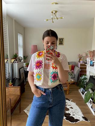 Granny squares crocheted waistcoat