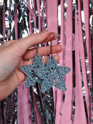 Sparkly silver crocheted star earrings
