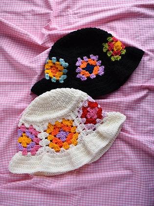 Crocheted granny squares hat- PDF pattern