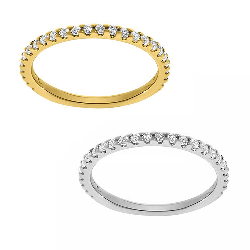 14k Yellow or White Gold 1/7ct TGW Round-cut Diamonette Stackable Wedding Band