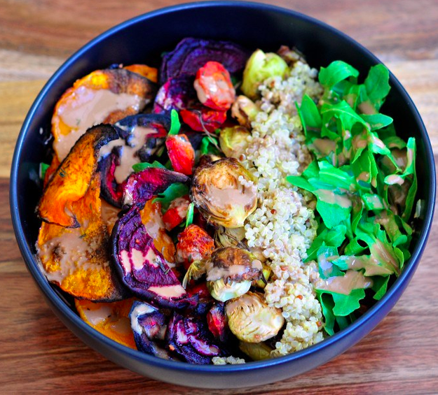 Roasted Veggie & Tahini Quinoa Bowl
