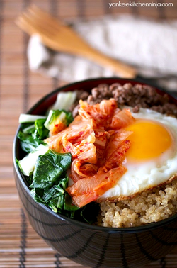 Beef Bowl with Kimchi and Bok Choy
