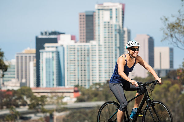 Woman Riding Hybrid bike